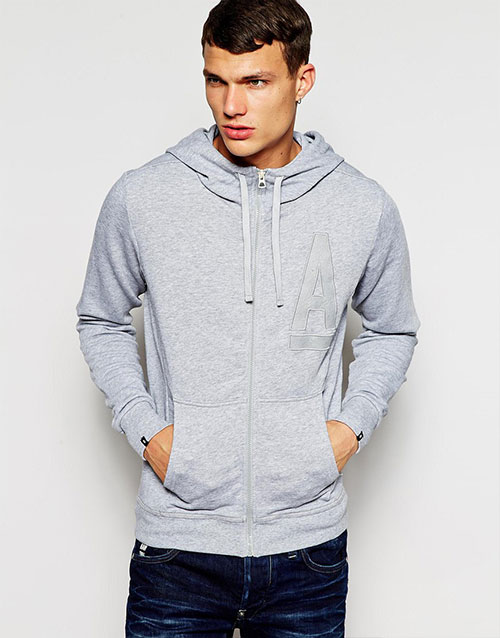 High Quality Grey Zip Up Hoodie for Mens