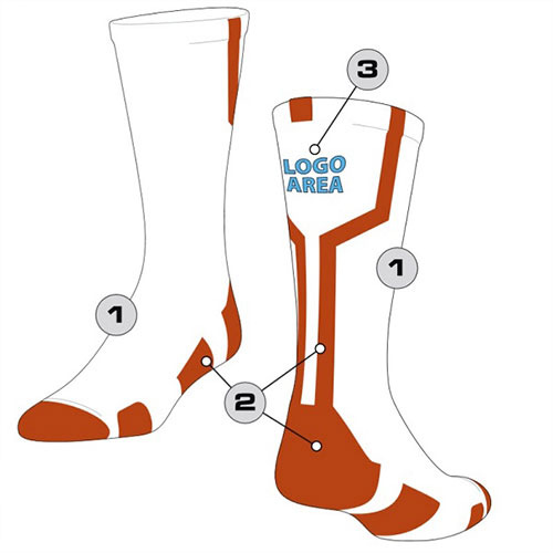 White Baseball Team Socks Custom Design